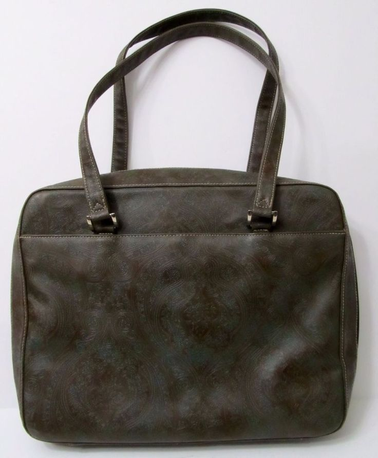 Buxton Briefcase Handbag Computer Tote Faux Tooled Leather Brown Teal #Buxton #Briefcase