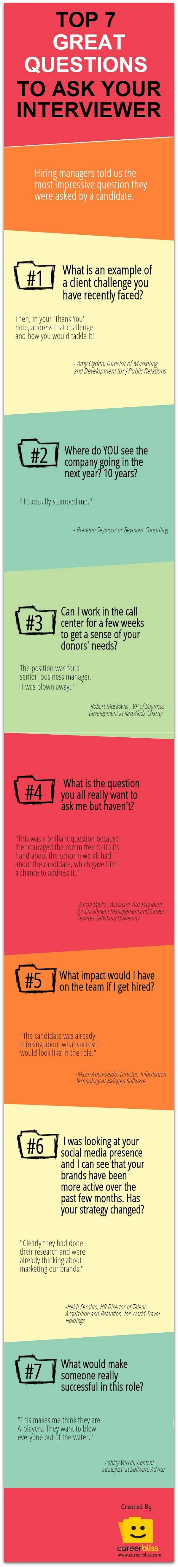 best images about jobs and branding interview infographic 7 impressive questions to ask in a job interview