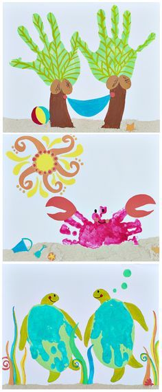 Handprint art. Okay...totally making the palm tree one for mom!!!,