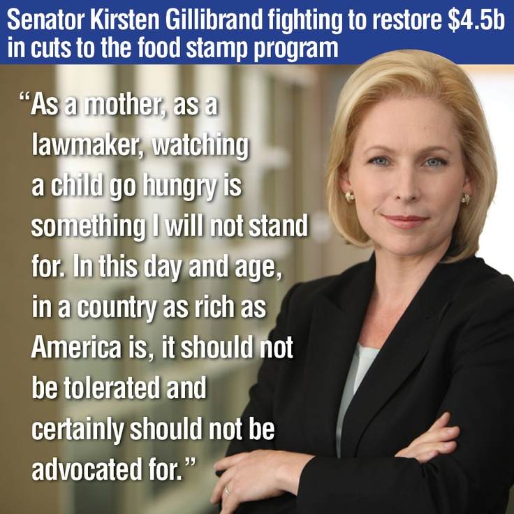 Click through to watch Senator Gillibrand fighting to restore $ 4.5 billion in cuts to the SNAP food stamp program.