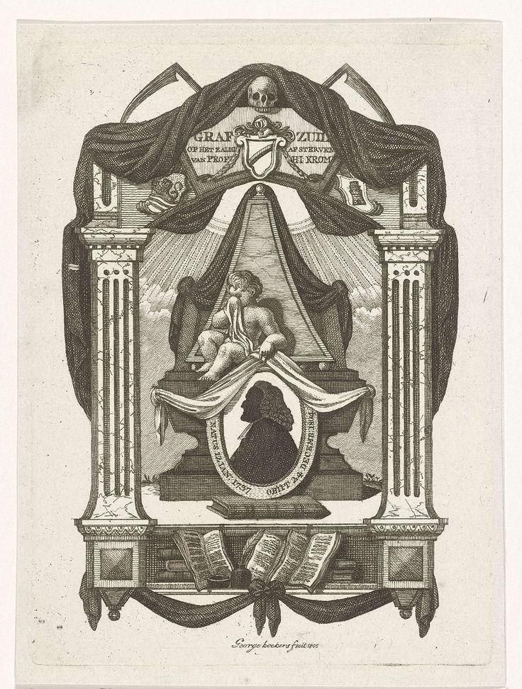 George Kockers | Allegorische compositie op de dood van predikant Hermanus Johannes Krom, George Kockers, 1805 | Allegorische compositie op de dood van predikant Hermanus Johannes Krom, met in het midden zijn silhouetportret. Boven het portret een huilend kind en op de twee zuilen een fronton met de naam van de overledene, drie wapenschilden en een schedel met twee zeisen. Onder het portret is een plank afgebeeld met boeken en schrijfgerei, zoals een schrijfveer en een inktpot.