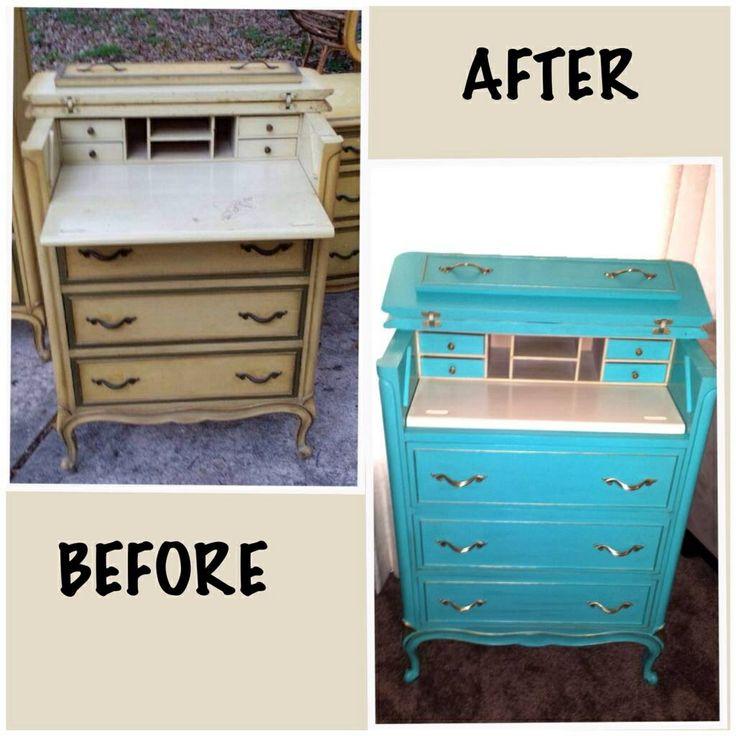 drexel bedroom set%0A Drexel dresser desk painted