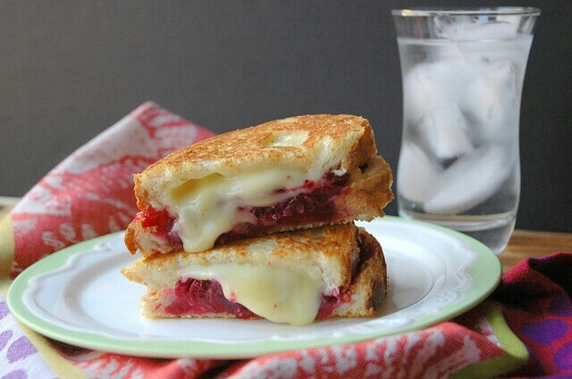 Grilled brie and cranberry sauce sandwich.
