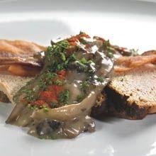 Liver pate with mushroom smørrebrød. Leverpostej med svampe