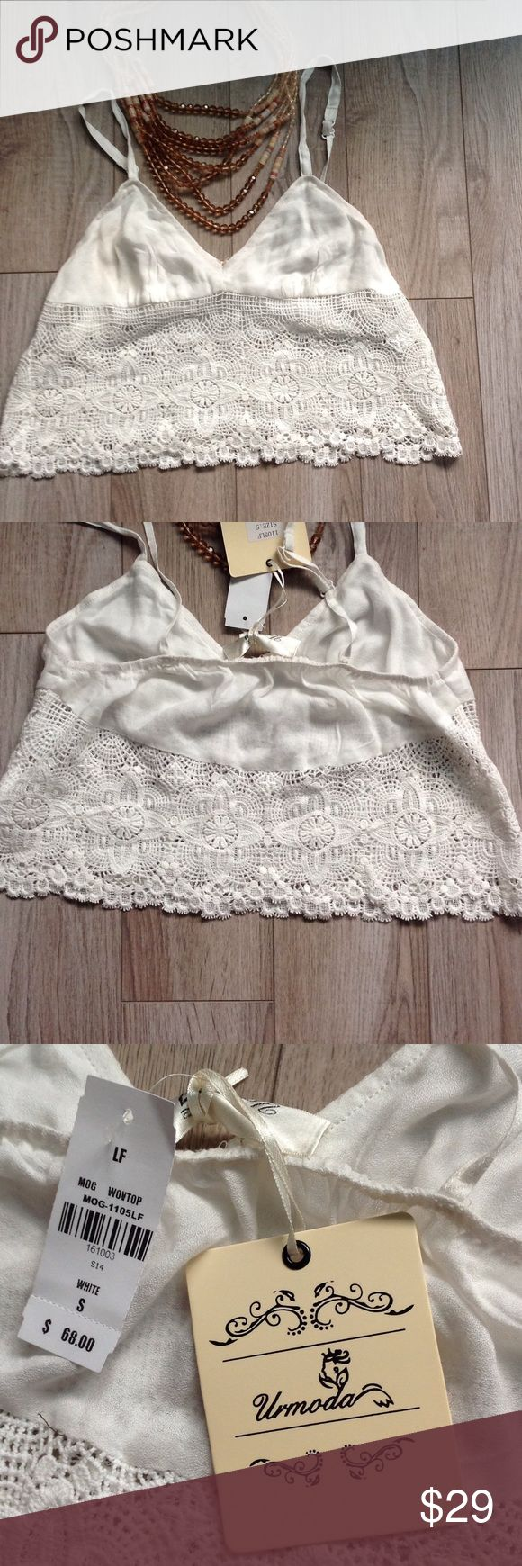 "Urmoda crop crochet cami Brand new with tags boutique item. Solid top with crochet bottom.  13"" across bust urmoda Tops Camisoles"