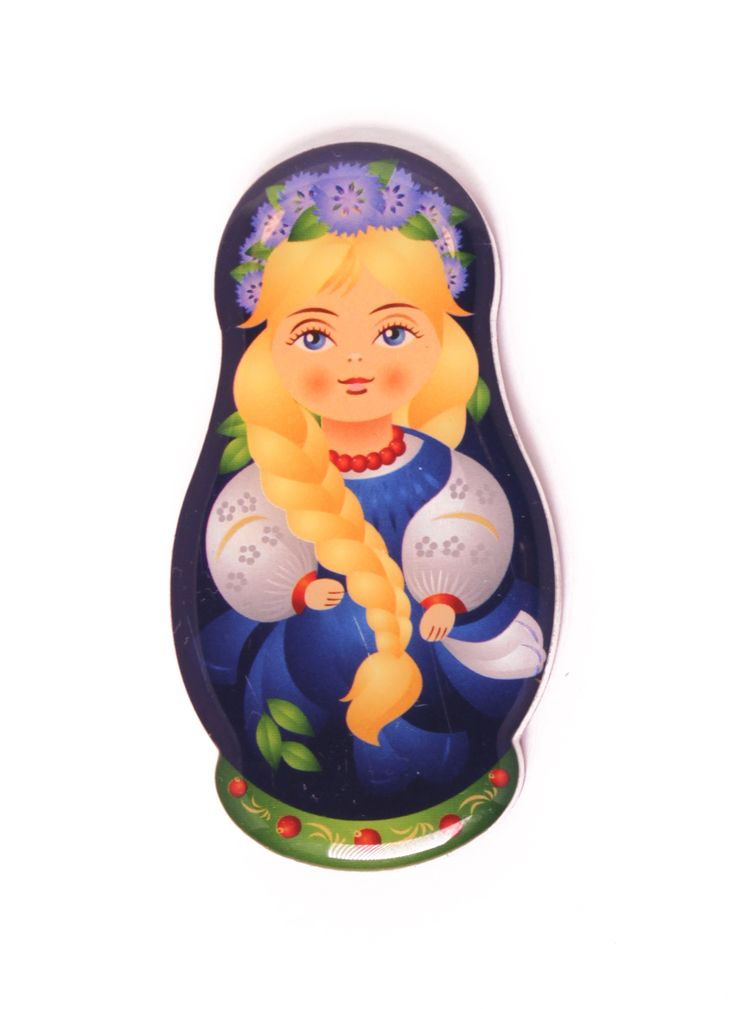 Russian fridge magnet matryoshka with braid