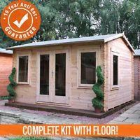 4m x 3m Bridgeford Garden Log Cabin Double Door Loglap Building Home Office