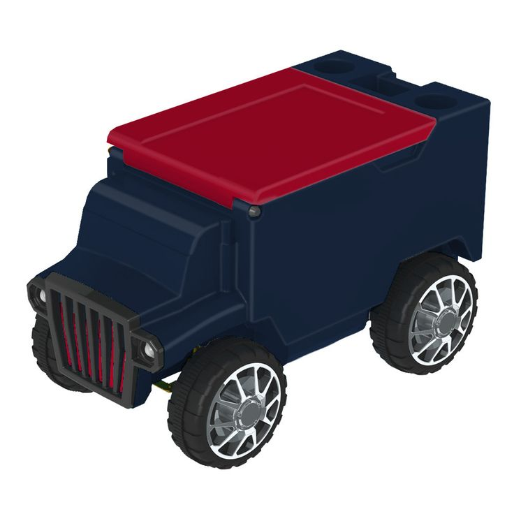 Navy/Red RC Truck Cooler w/ Bluetooth Speakers