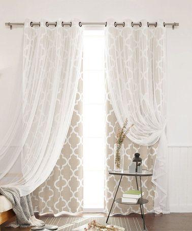 Loving this Beige Moroccan Trellis Room-Darkening Curtain Panel Set on #zulily! #zulilyfinds