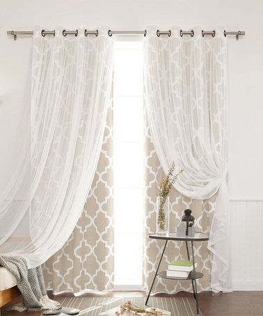 Loving this Beige Moroccan Trellis Room-Darkening Curtain Panel Set on #zulily! #zulilyfinds