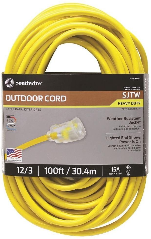 Southwire 100 Ft 12 3 Sjtw Hi Visibility Outdoor Heavy Duty Extension Cord Southwire Extension Cord Outdoor Extension Cord Major Appliances