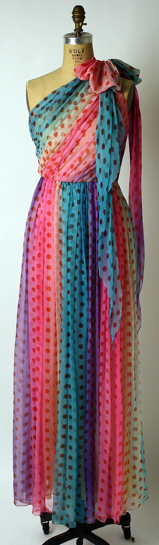 This looks like a 1970s Barbie dress!  It's a polka dot silk rainbow dress, ca 1974, by Bill Blass