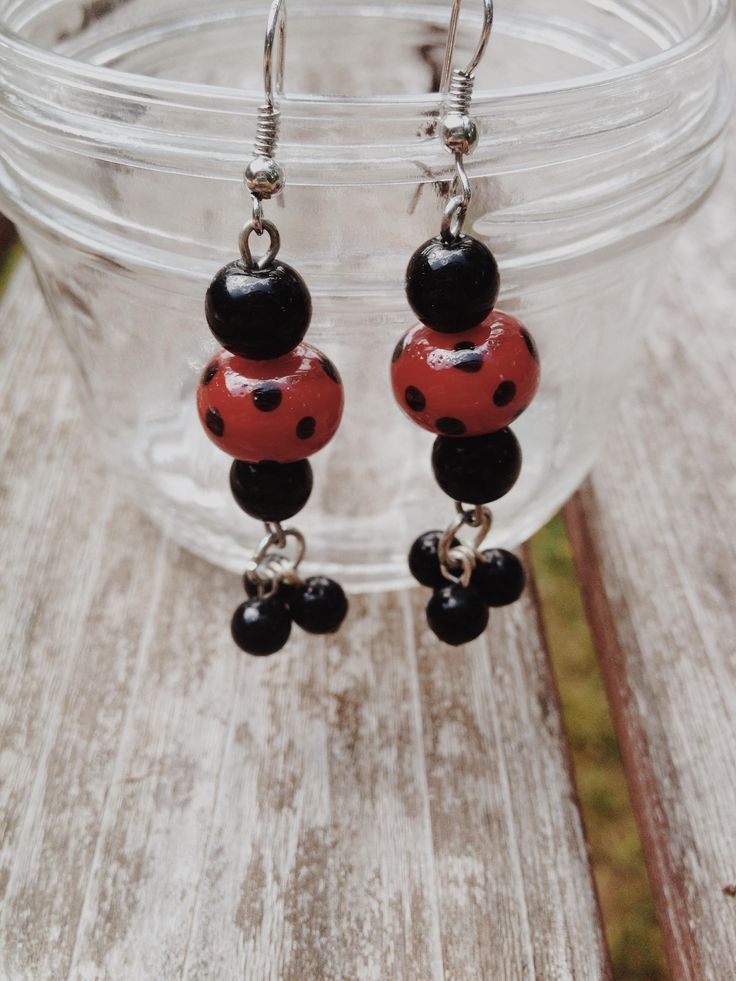 Black and Red Polka Dot Earrings by HoneyBeadCo on Etsy https://www.etsy.com/listing/527291637/black-and-red-polka-dot-earrings