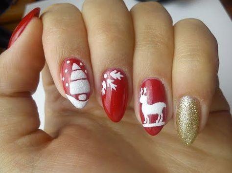 Indigo Nails Valentine's Day – Red&White Heart – YouTube #ChristmasNailsGel
