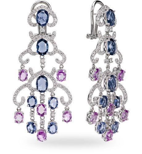 Orecchino in oro bianco 18 kt. con 11.10 ct. di misto prezioso e 1.66 ct. di diamante - Zoccai gold earrings with diamonds