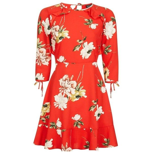 Women's Topshop Ruffle Floral Tea Dress ($90) ❤ liked on Polyvore featuring dresses, floral mini dress, red ruffle dress, flower print dress, red flower dress and petite dresses