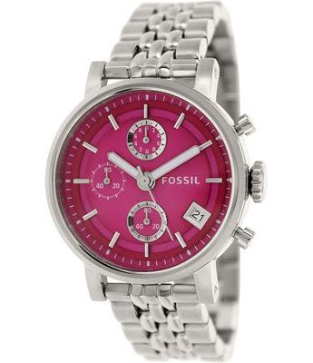 Fossil Women's Original Boyfriend Silver Quartz Watch with Pink Dial