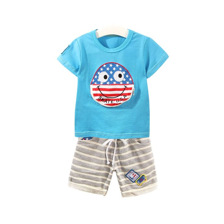 Baby Boy/Boy's Cotton Striped Top & Shorts in Grey, 50% discount @ PatPat Mom Baby Shopping App
