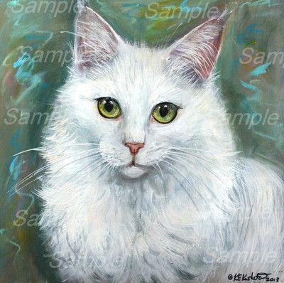 Original White Turkish Angora Cat Painting on Wood Longhair Kitten Kasheta Art | eBay