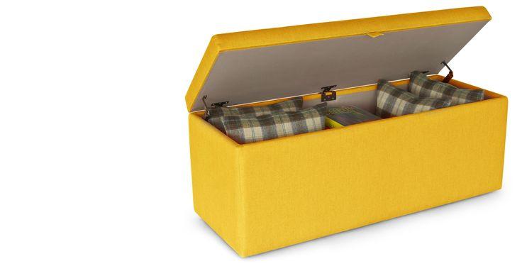 Decker Upholstered Storage Bench, Dandelion Yellow
