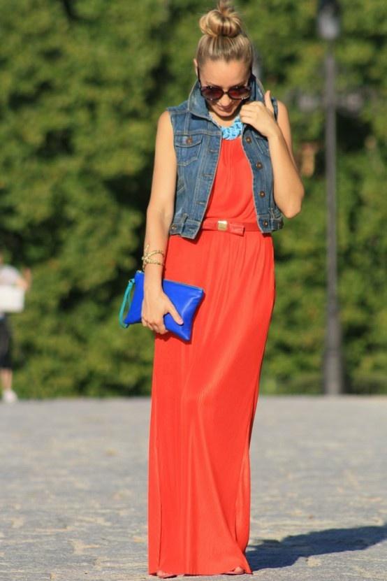 maxi dress, bright clutch, jean vest