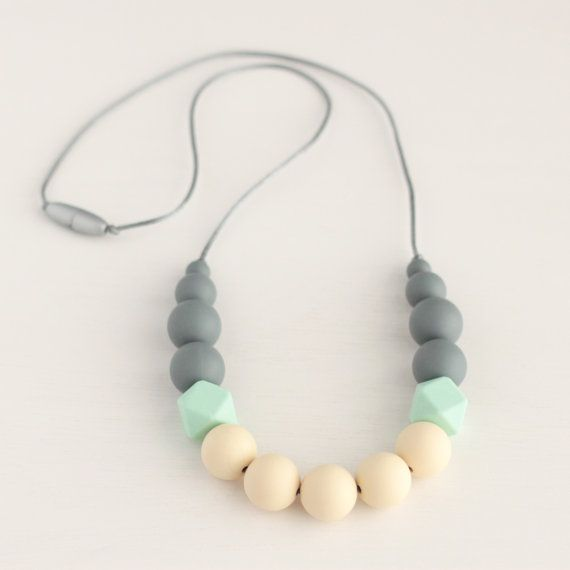 122 best teething necklace images on pinterest teething necklace georgia silicone teething necklace nursing necklace silicone teether chew beads baby shower mom gift gray mint cream turquoise necklace mozeypictures Images