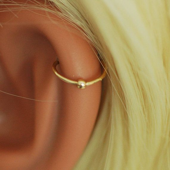 Tiny Hoop Gold earring hoop helix small bead by junelittleshop