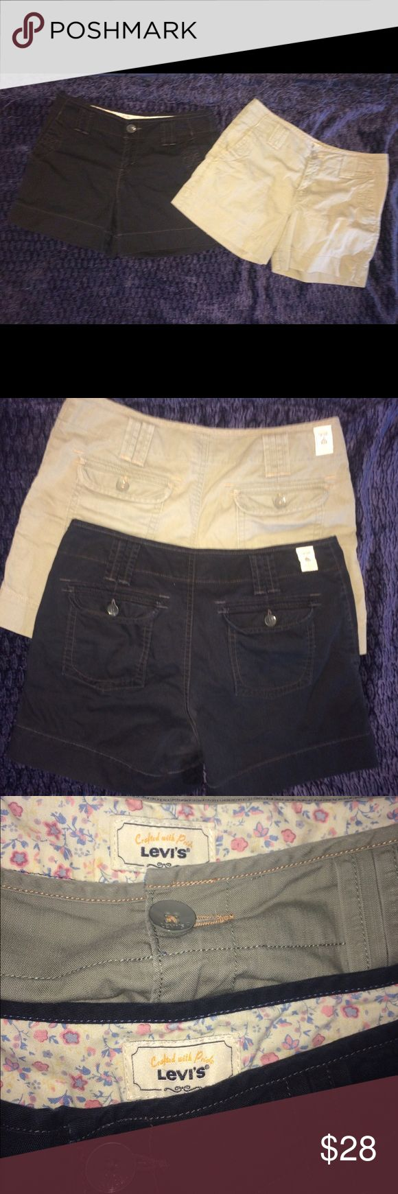 "Two 2 pair Levi's shorts black khaki green size 4 Two 2 pair Levi's shorts black khaki green size 4. These are identical- one black and one khaki green- they are both in fabulous shape These measure as follows waist-32"" inseam-5"" total length from side seam-13 1/2"". These shorts have the little LS &Co emblem on the cuffs- Levi's Shorts"