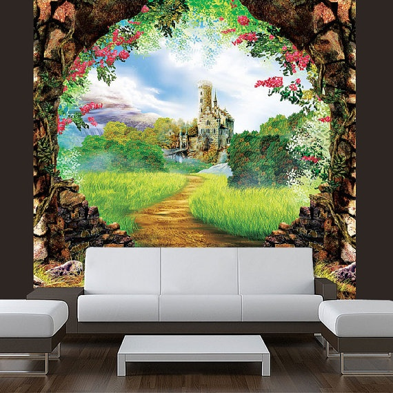 17 best images about children 39 s murals on pinterest kid for Fairy castle mural
