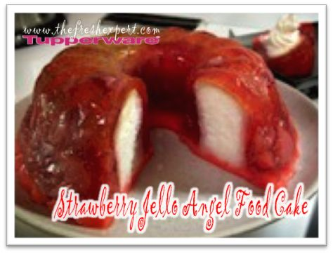strawberry angel food cake made in Tupperware's Jel-Ring Mold    www.thefreshexpert.com