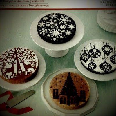 christmas cake - simple stencils