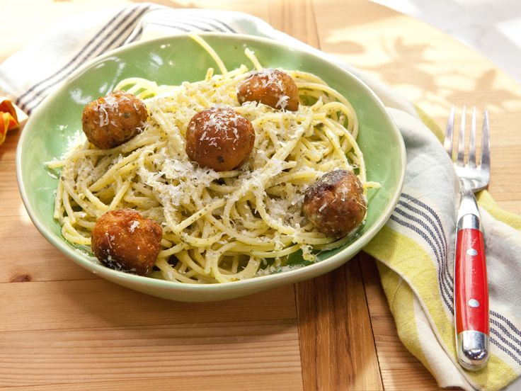 Spaghetti and Tuna Meatballs recipe from Katie Lee via Food Network