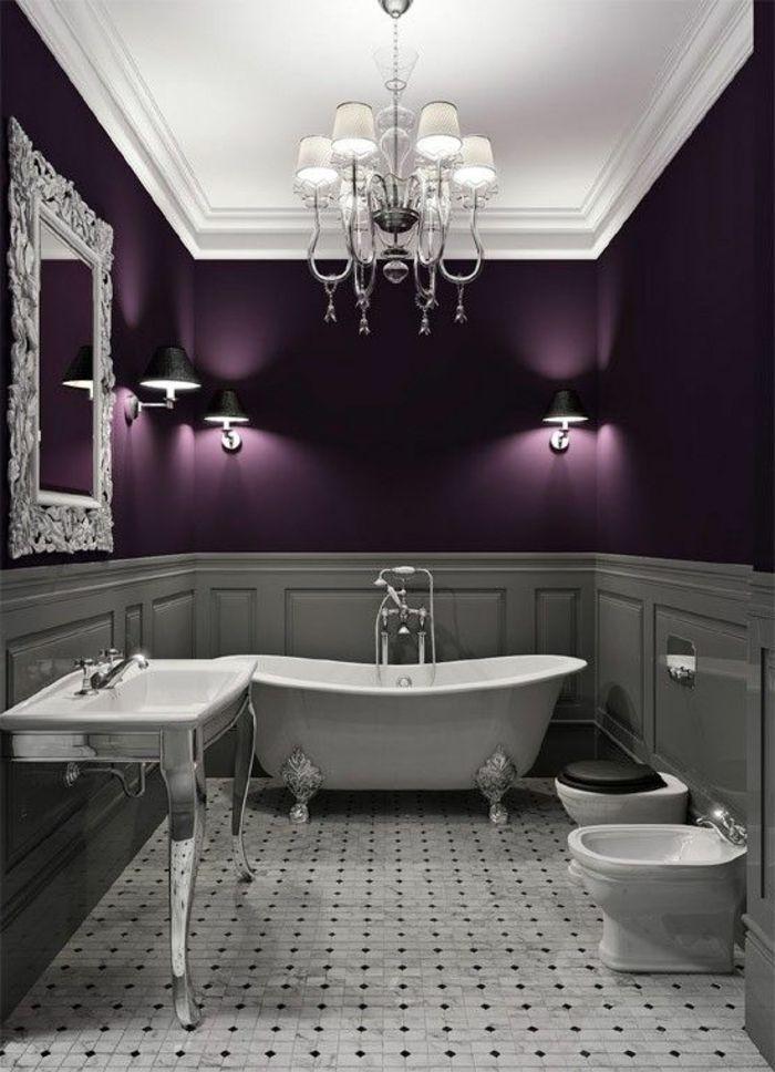 17 meilleures id es propos de salle de bains prune sur pinterest salles de bains violettes for Peinture salle de bain gris