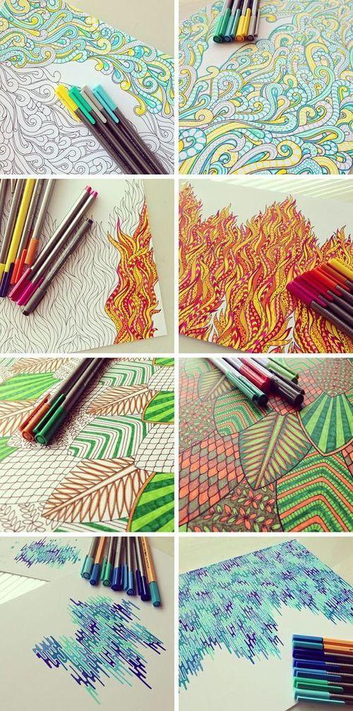 Illustrating the Elements. Beautiful line art, doodle art, pen art. Great kids art project/inspiration by Nikki Farquharson.