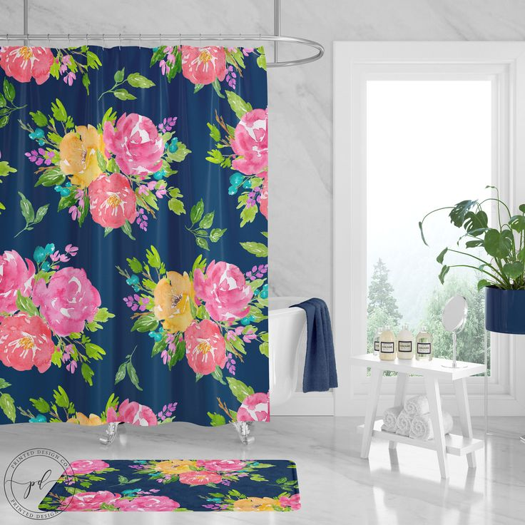 Floral Shower Curtain Watercolor Pink Navy Blue Yellow Flowers