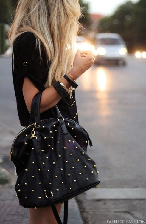 Studded Handbag. Rocking it.