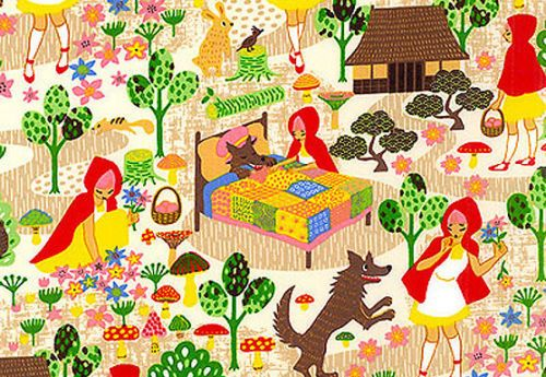 Anime Little RED Riding Hood Fairy Tale Asian Japanese Quilt Fabric