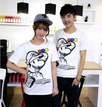 Neutral t-shirt men short sleeve T-shirt shirt Korean version of the small influx of youthful personality tide Super Mario T-shirt lovers