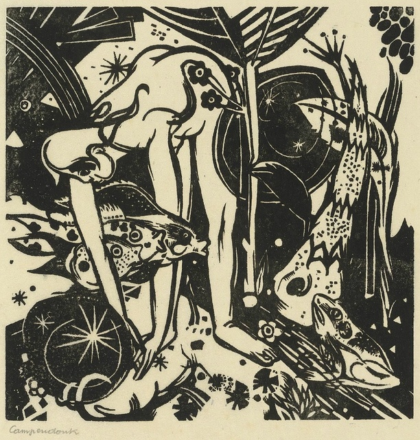 Heinrich Campendonk, The Fairytale, 8.6 x 8.5 in. (image), woodcut, 1916 by JesPatMart, via Flickr