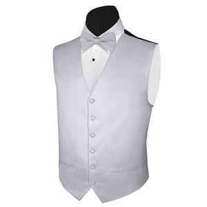 Tuxedo Vest SILVER Vest and BOWTIE Satin