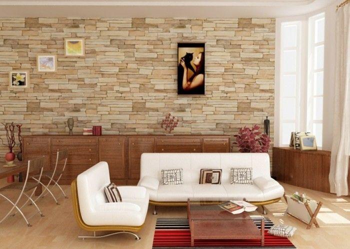 Good wohnideen wohnzimmer steinwand teppich wanddeko