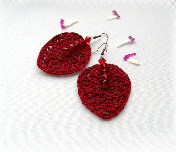 Crochet Earrings  Leaf Earrings  Crochet by CraftsbySigita on Etsy,