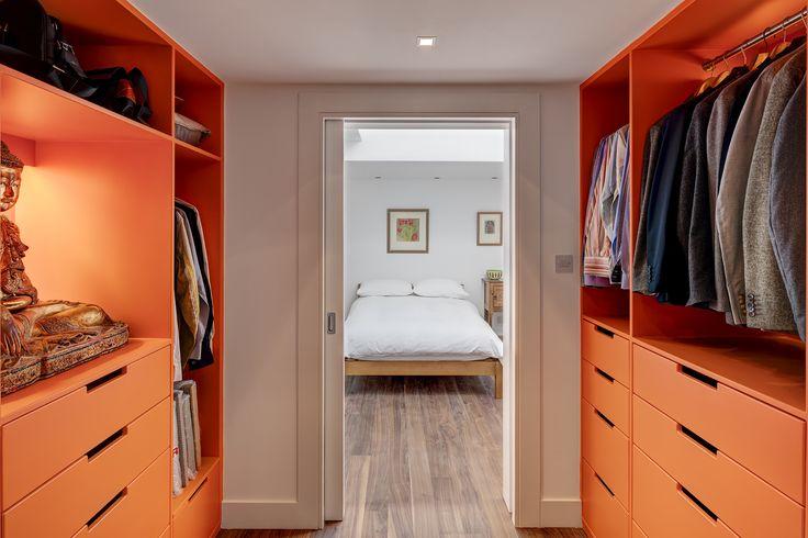 Orange walk in wardrobe. Be Brave!