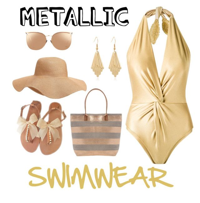"""Metalic swimwear"" by victorsboutique ❤ liked on Polyvore featuring Martha Medeiros, Linda Farrow, Old Navy, beachwear, golden, womensFashion and metalicswimwear"