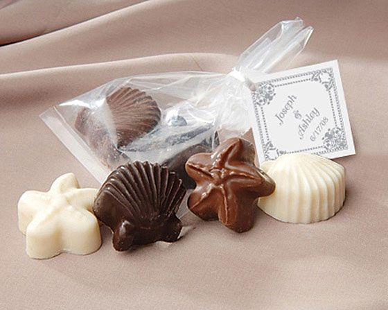 Chocolate seashells at a wedding favor would be great if we could find affordable prices.