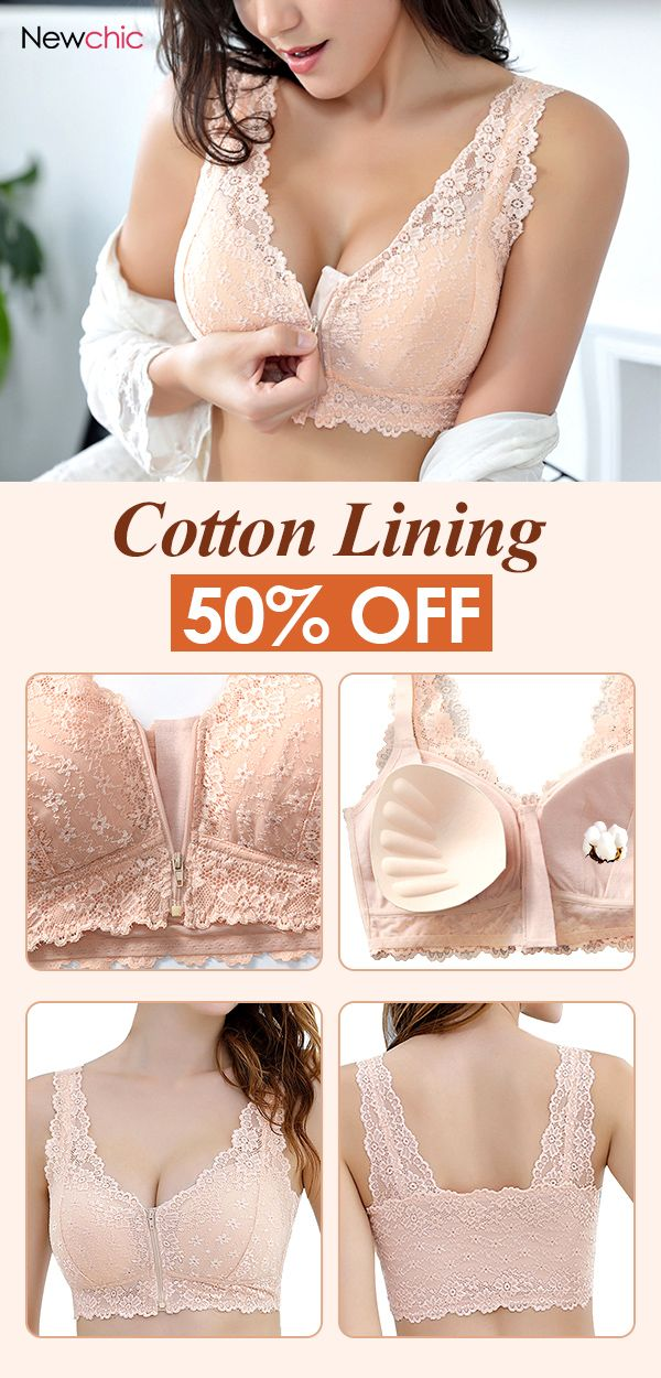 f2f0abd743 Front Zipper Cotton Lining Gather Wireless Soft Lace Comfort Embroidery Bra   bras  front  zipper  cotton  wireless  lace  comfy