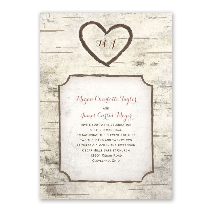 Birch Tree Carving - Invitation with Free Response Postcard. A naturally romantic choice for your wedding, these invitations feature a realistic birch wood background with carved hearts. Your initials appear within a carved heart above your wording. These two-sided wedding invitations are printed with your invitation wording on the front and your choice of wording on the back (reception and wedding website details shown). Response postcards are included. Cheap rustic wedding invitation. Rustic