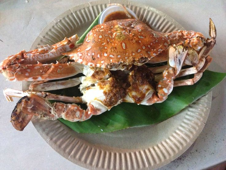 Gurney drive grilled crab with sambal on the inside.