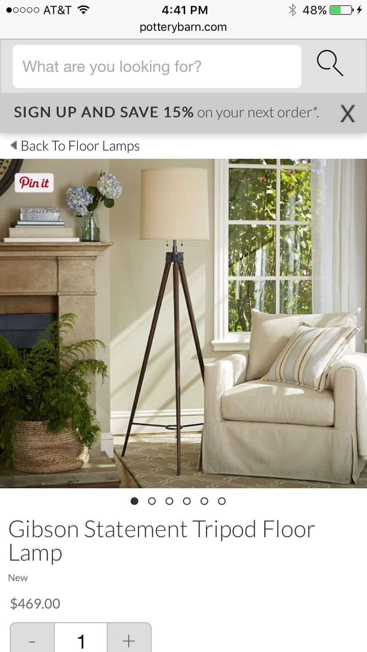 Piedmont floor lamp base pottery barn living room next to the