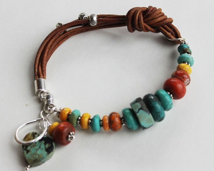 29 Beautiful colorful leather bracelets| Colorful leather bracelet – Sundance Style turquoise and coral bangle bracelet